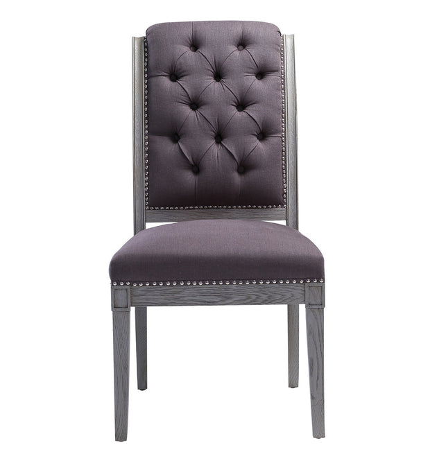 Addington Grey Linen Side Chair from the Addington Collection  made from Oak, Linen in Grey featuring Handmade by skilled furniture craftsmen and Washed grey Oak frame and legs