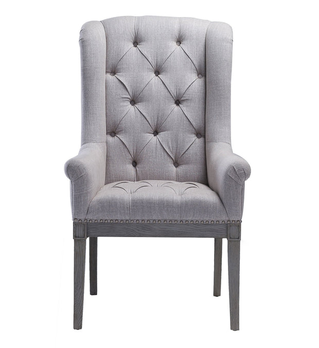 Addington Beige Linen Arm Chair from the Addington Collection  made from Oak, Linen in Beige featuring Handmade by skilled furniture craftsmen and Washed grey Oak frame and legs