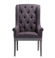 Addington Grey Linen Arm Chair from the Addington Collection  made from Oak, Linen in Grey featuring Handmade by skilled furniture craftsmen and Washed grey Oak frame and legs
