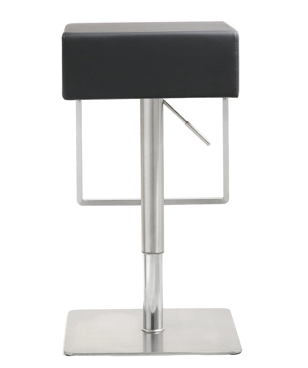 Seville Black Steel Barstool from the TOV MOD Collection  made from Stainless Steel, Vegan Leather in Black featuring Stainless steel frame and footrest and Adjustable seat height with gas lift