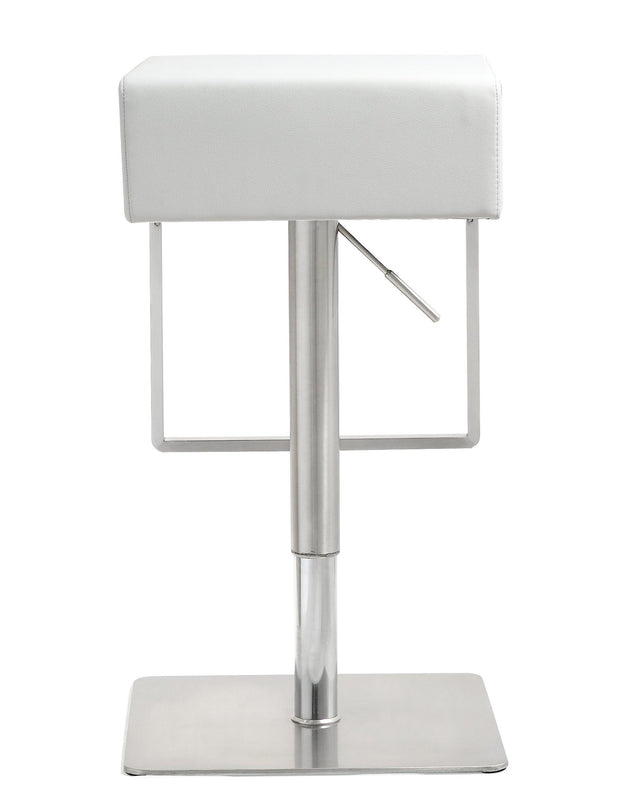 Seville White Steel Barstool from the TOV MOD Collection  made from Stainless Steel, Vegan Leather in White featuring Stainless steel frame and footrest and Adjustable seat height with gas lift