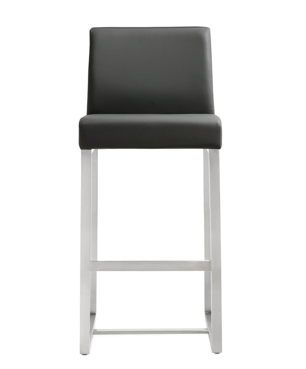 Denmark Grey Steel Counter Stool from the TOV MOD Collection  made from Stainless Steel, Vegan Leather in Grey featuring Stainless steel frame and footrest and Comfortable Vegan Leather upholstered back and seat