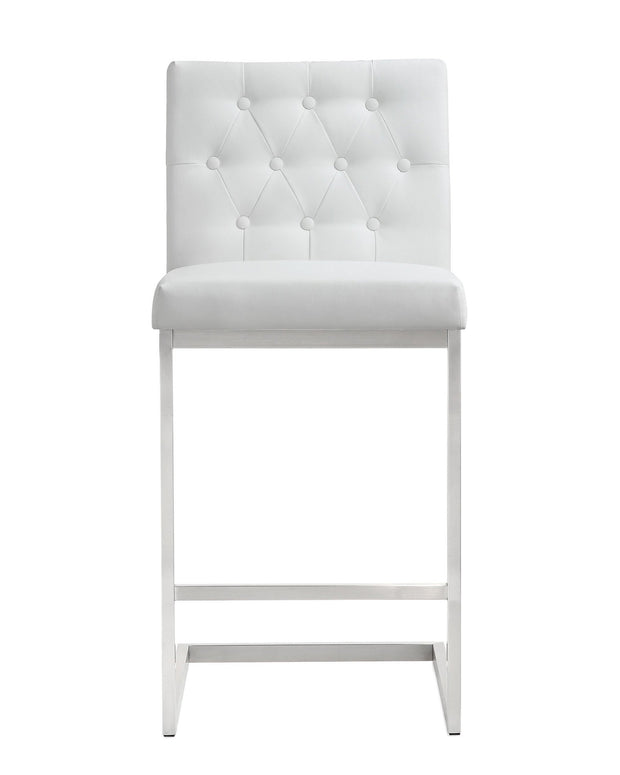 Helsinki White Steel Counter Stool from the TOV MOD Collection  made from Stainless Steel, Vegan Leather in White featuring Stainless steel frame and footrest and Button tufted back