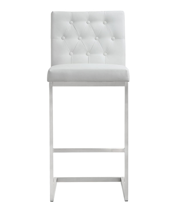 Helsinki White Steel Barstool from the TOV MOD Collection  made from Stainless Steel, Vegan Leather in White featuring Stainless steel frame and footrest and Button tufted back