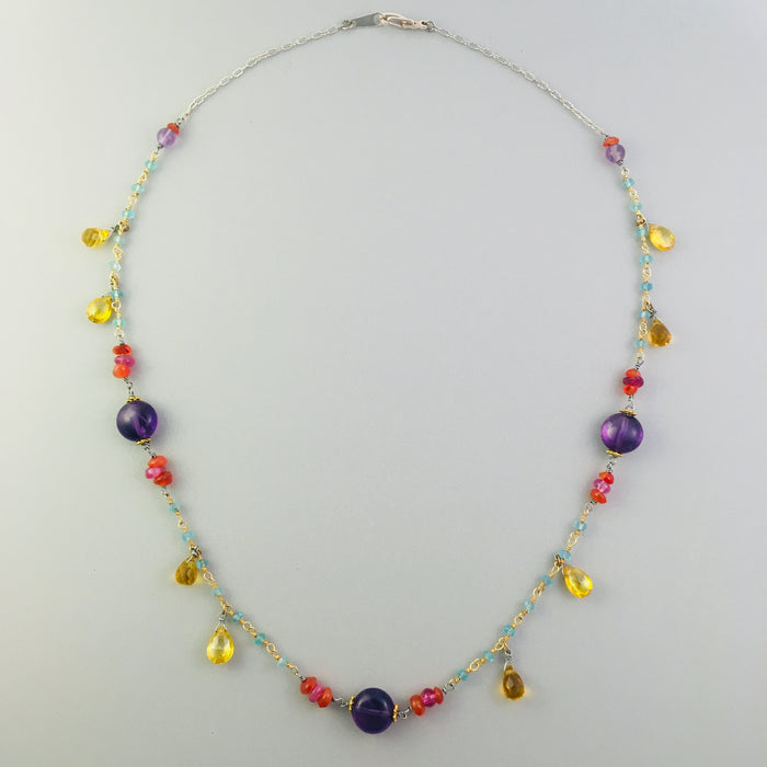 Sterling and Vermeil Multi Gemstone Necklace