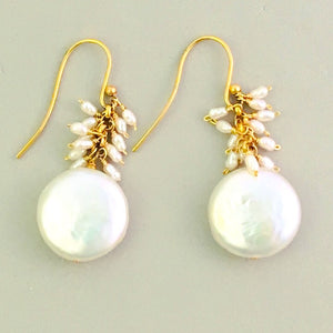 Dainty coin pearl earrings