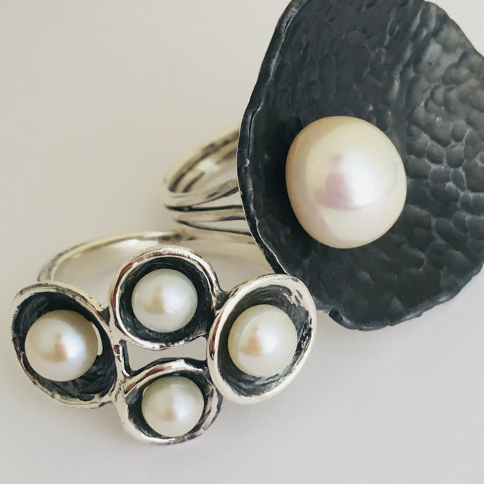 Sterling silver 4 Pearl Ring