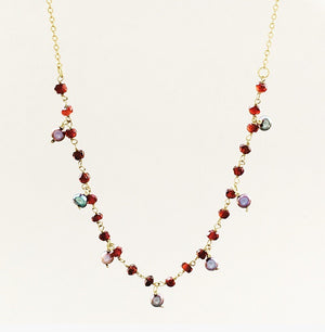 Vermeil Garnet and gray freshwater pearl necklace