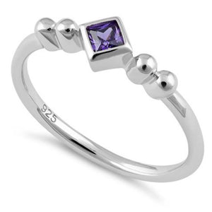Square Amethyst CZ Sterling Silver Ring