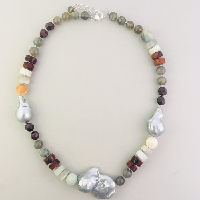 Baroque pearl, garnet, and labradorite statement necklace