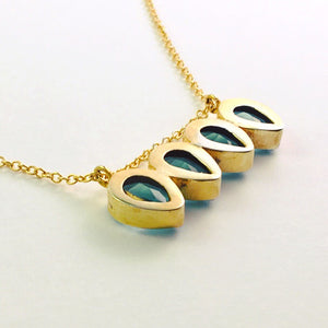 Teardrops in blue topaz necklace