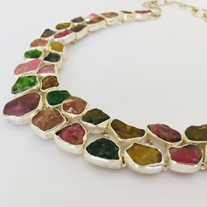 Raw tourmaline and sterling - statement collar necklace