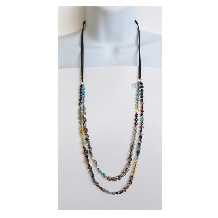 Long double gemstone and leather necklace