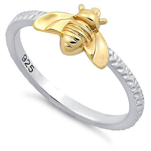 Sterling vermeil bee ring
