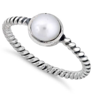 Synthetic Pearl Rope Sterling Silver Ring
