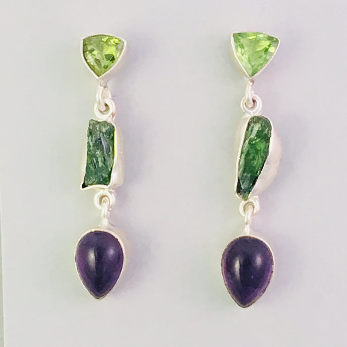 Sterling Raw Tourmaline and Amethyst Earrings