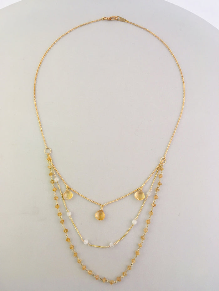 Vermeil citrine layered necklace