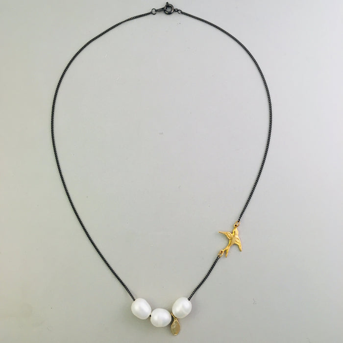 Three Pearl Charm Necklace