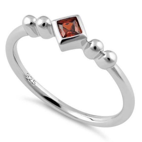Square Garnet CZ Sterling Silver Ring