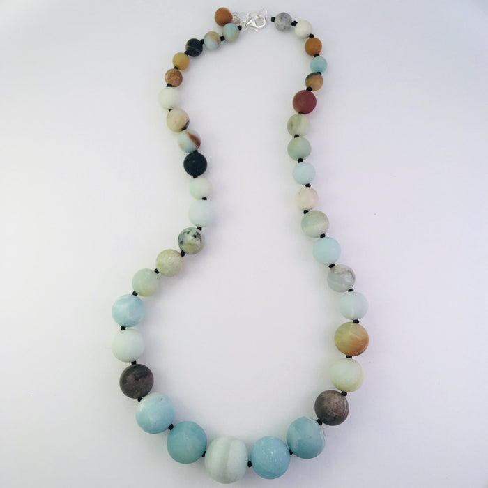 Matte amazonite gemstone necklace