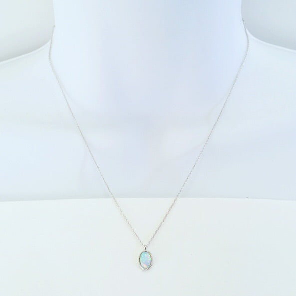 Tiny Oval Opal Necklace