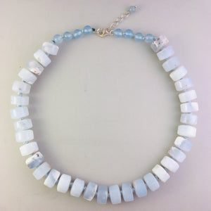 Milky aquamarine necklace