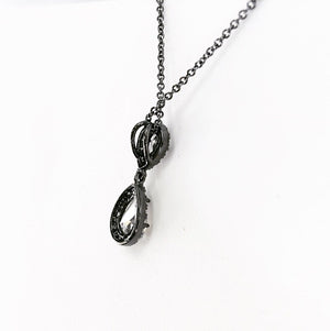Dainty teardrop gunmetal pendant necklace
