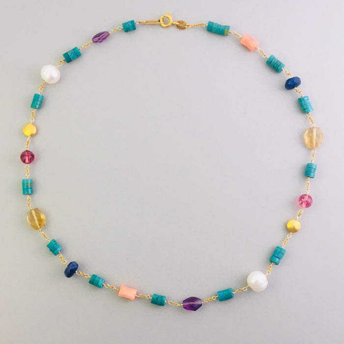 Multi Gemstone and Pearl Vermeil Necklace