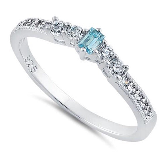Sterling silver tiny aquamarine CZ ring