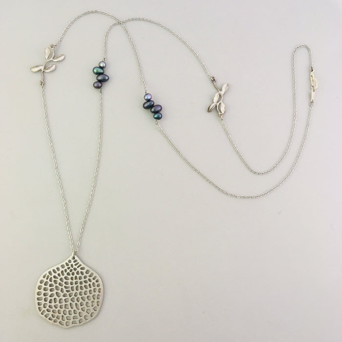 Long Silver Garden Necklace