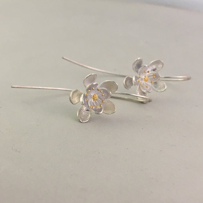 Sterling silver artful flower earrings