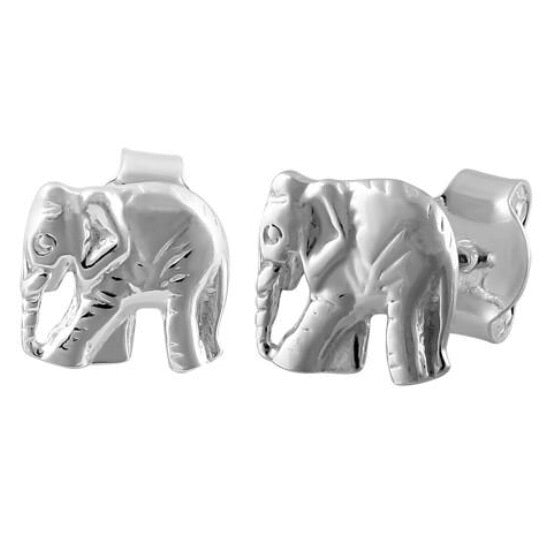 Tiny sterling silver elephant earrings