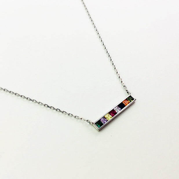 Small Rainbow Bar Sterling Necklace