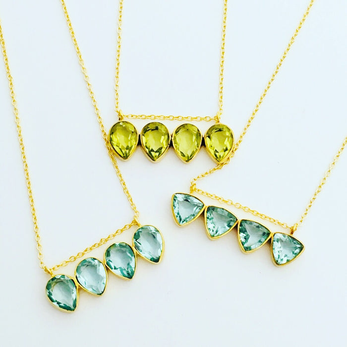 Dawn Light Necklace, Peridot or Blue Topaz
