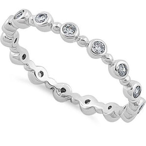Round dots eternity CZ Sterling Silver Ring