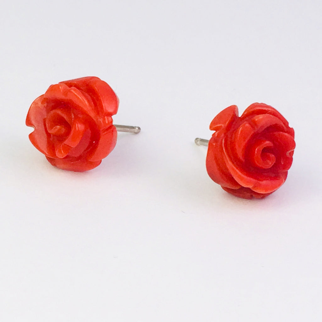 Small coral rose earrings