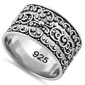 Swirl Band Sterling Silver Ring