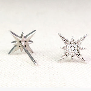 Dainty starburst sterling silver earrings