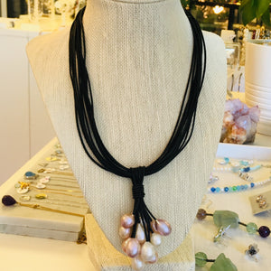 Leather and pearl cluster pendant necklace