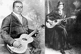 The only known photographs of Blind Lemon Jefferson, left, and Robert Johnson