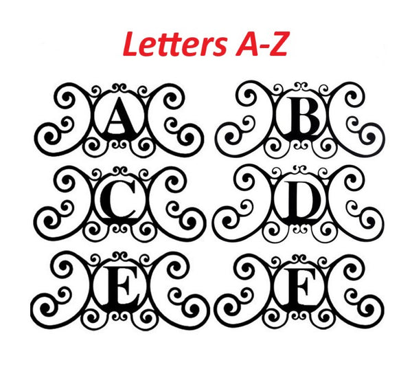 Monogram Initial Letter Wrought Iron Metal Scrolled Door Wall Decor 24