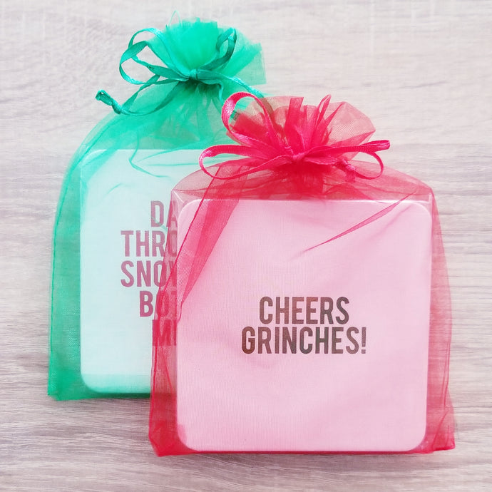 Holiday Mixed Set - 8 Assorted Christmas Coasters + Gift Bag