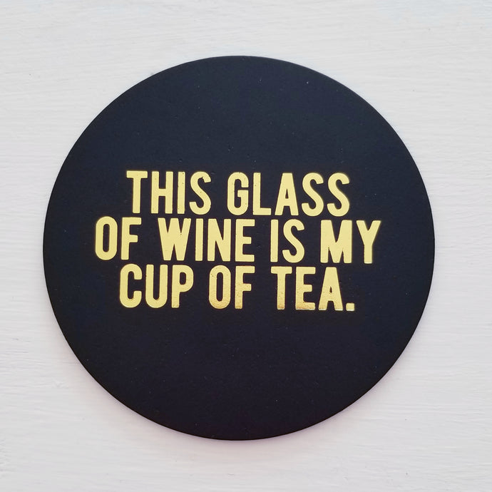 Glass of Wine Leather Coaster