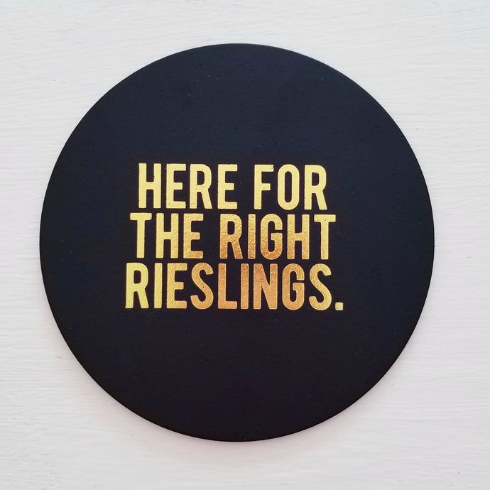 Right Rieslings Leather Coaster