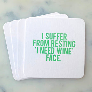 Resting Wine Face Coasters - Funny Wine Coasters