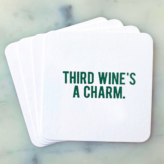 Third Wine's a Charm Coasters - Gift for Wine Lovers