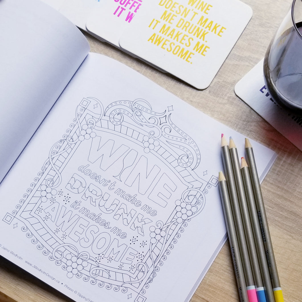 Wine-Themed Adult Coloring Book - ONLY 6 LEFT
