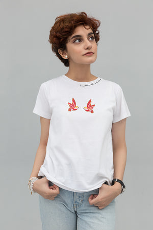 Birds On White Cotton T-Shirt In Print  & EMBROIDERY - yesonline.pk