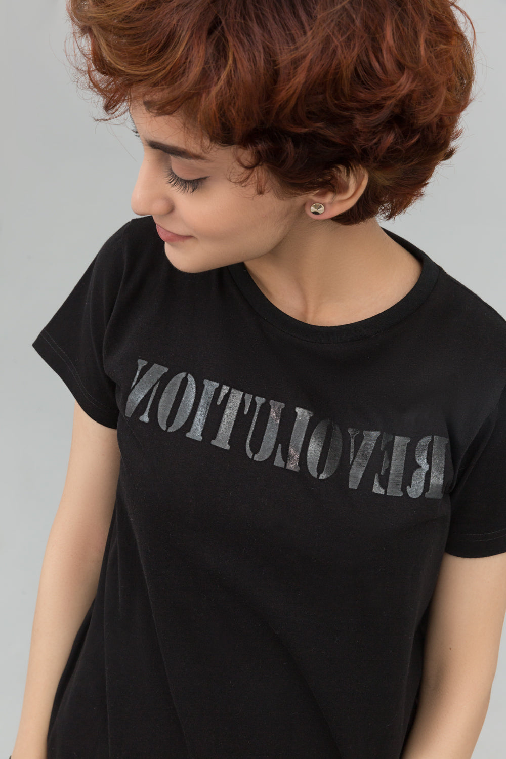 Revolution Black Statement T-shirt In Print - yesonline.pk