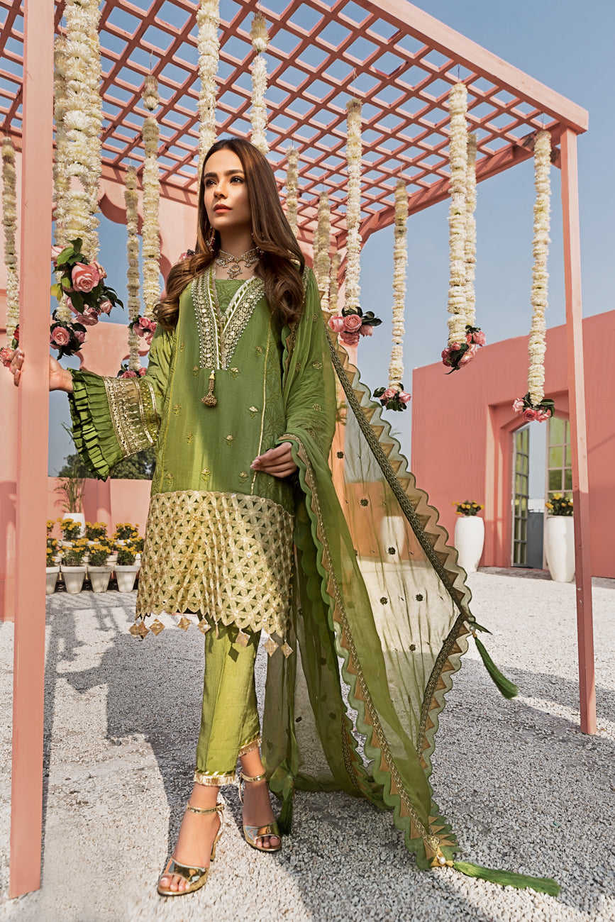 Herbal Garden Luxury Unstitched 3 pc Embroidered & Sheesha Work On Cotton Net Shirt With Pure Chiffon Dupatta & Dyed Matching Raw Silk Trouser - yesonline.pk